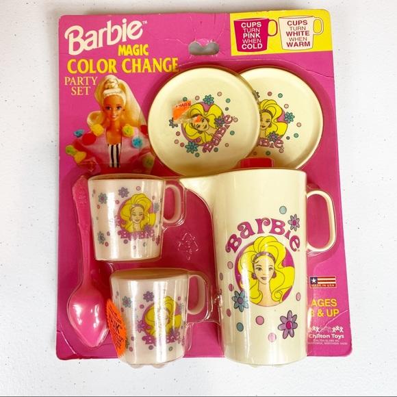 NEW Barbie Magic Color Change Party Set Tea Set